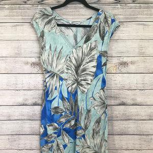 Jams World Dresses - Jams World Blue Palm Gray Tropical Print Dress